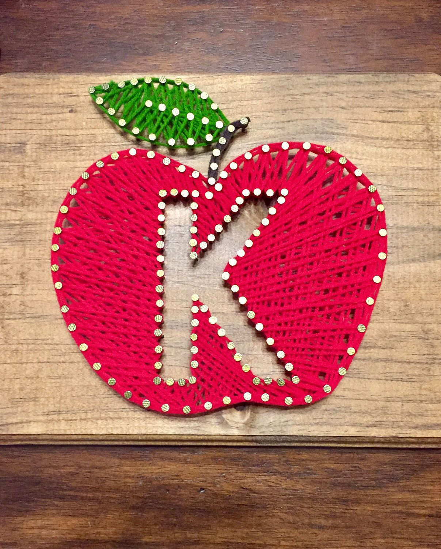 String Art Teacher T Apple With Initial