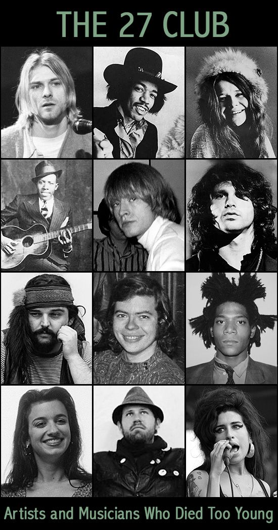 The 27 Club A Tragic Tour Of Famous People That Died Too Young Famous People That Died Music Artists Rock Music