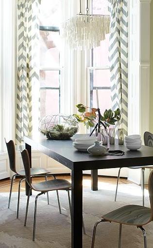Chevron curtains + capiz shell chandelier. i'm in love!
