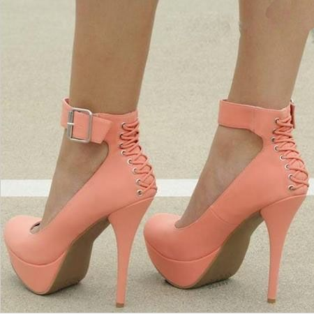 747451dc1da New Arrival White Coppy Leather Ankle Strap Platform High Heel Shoe  Platform Heels from fashionmia.com
