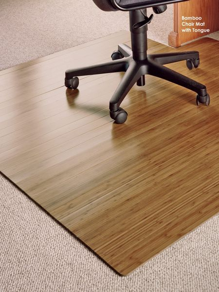 bamboo chair mat office covers uk with tongue protect floors and make your easy to roll finally a pad that s handle looks like it belongs in