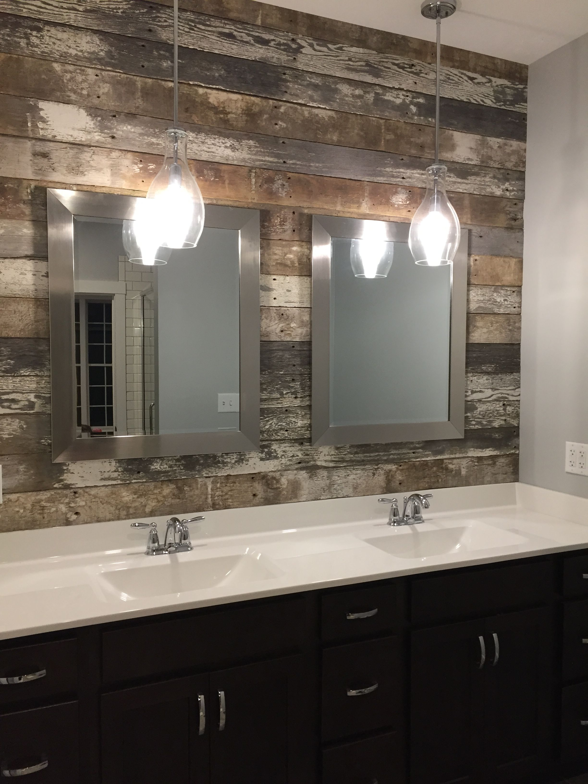 Master Bath Double Vanity Sink Barn Wood Accent Wall And Pendant