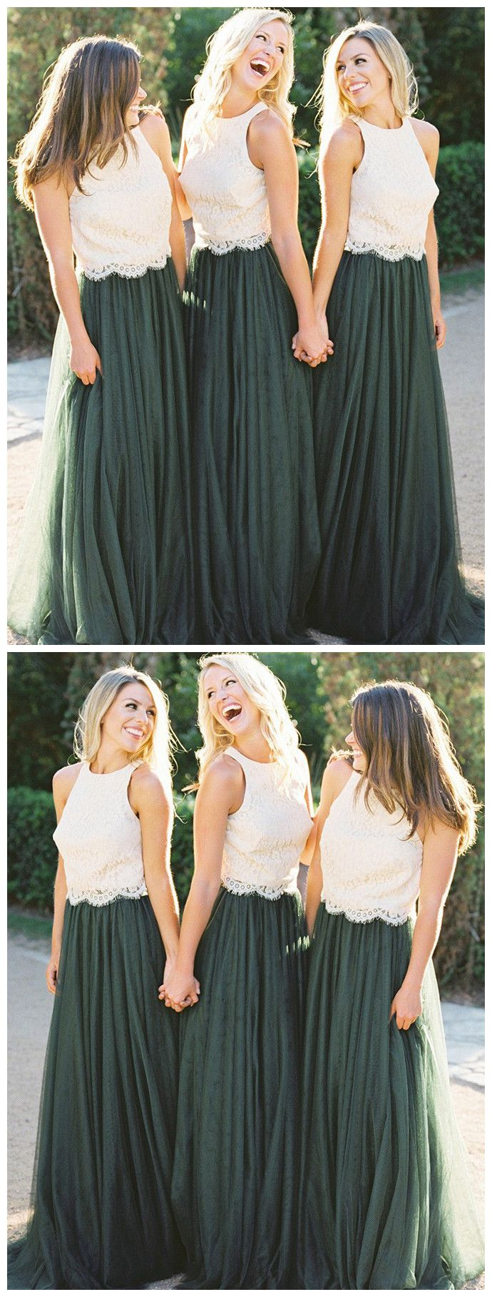 Two pieces aline cheap bridesmaid dresses floor length green prom