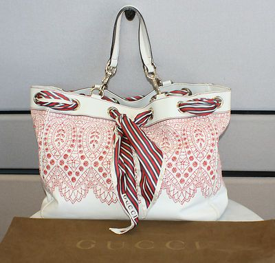 f3fe0517652 Gucci Positano White Large Intricate Embroidered Tote Bag with Scarf Super  RARE- 699.99