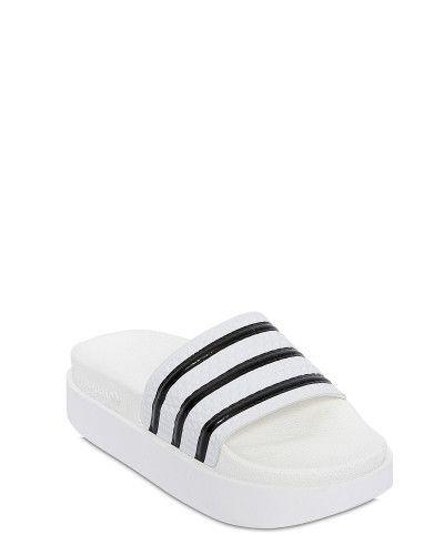 size 40 41559 be42d Adidas Originals   White Adilette Bold Rubber Slides   Lyst