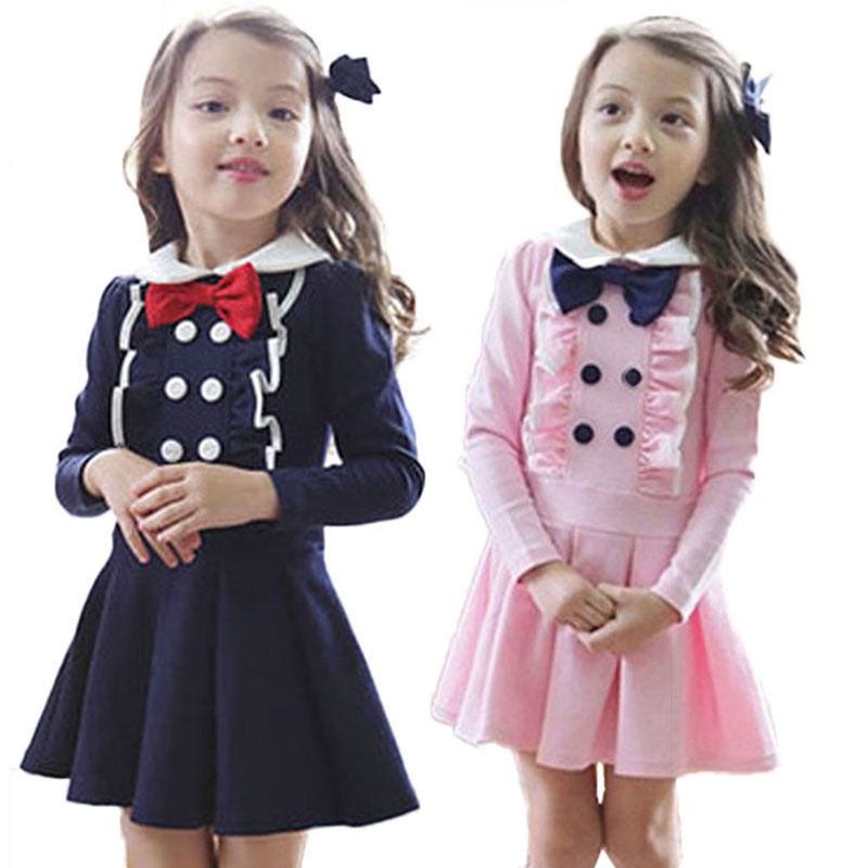 8c3c4c5f9 Kids Toddlers Girls Clothes Dress Bowknot Long Sleeve Cotton Age 2-7 ...