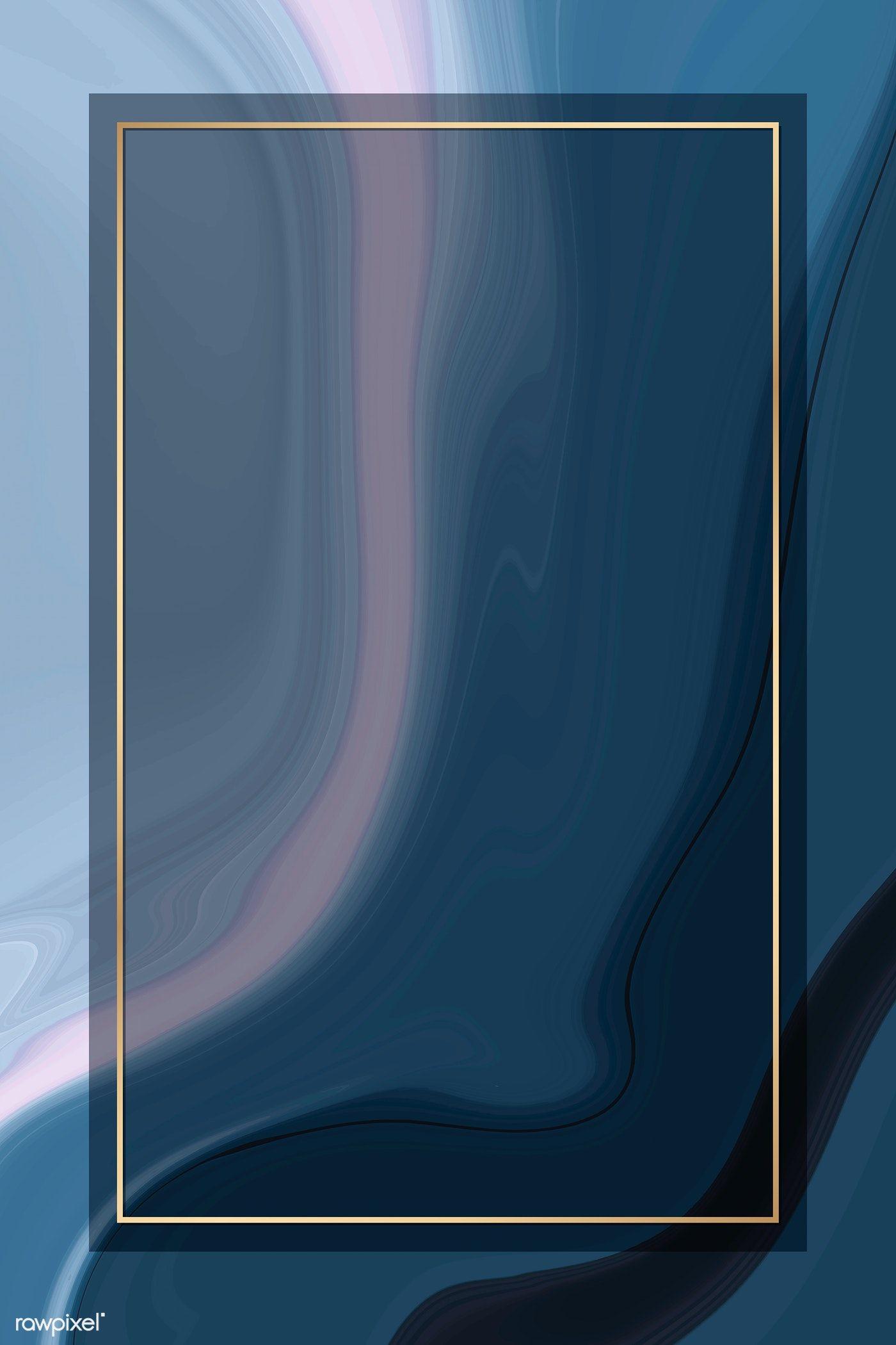 Download premium vector of Pink gold frame on blue fluid