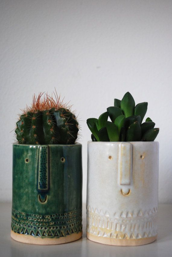 Little Succulent Or Cacti Pot In Semi Transparent Green Glaze Clay