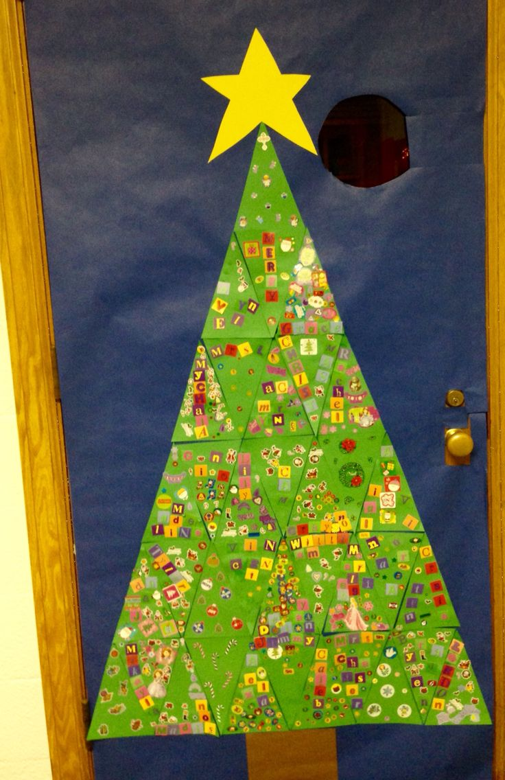 All class Christmas tree. Kids names and stickers made this an easy door decoration.