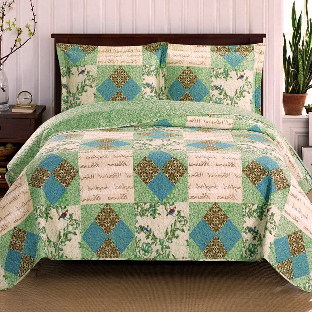 Romantic Chic Patchwork Blue Green Quilt Coverlet and Shams Set ... : oversized quilts and coverlets - Adamdwight.com