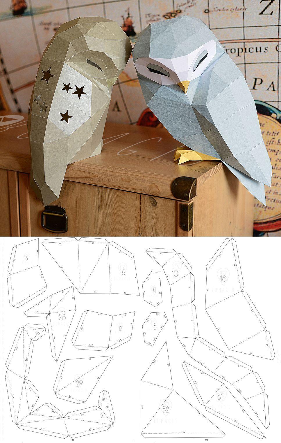 Owl Model Owl Low poly Owl Sculpture Owl paper Papercraft Kit DIY 3D Paper Crafts animals