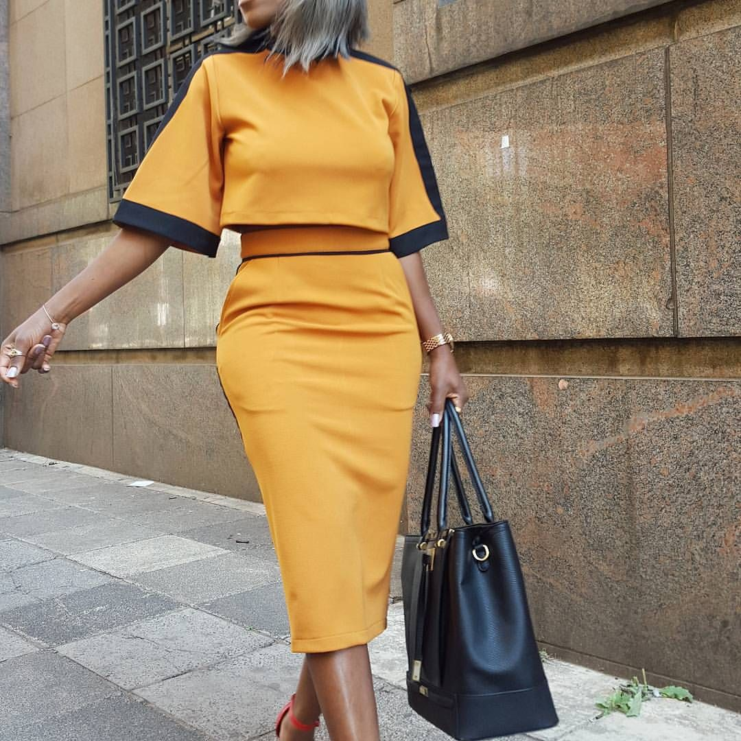 STYLE ALERT SA  SS15 collection  AVAILABLE to order  # mustard two piece set #stylealertsa  #0812972048 (️order NR S/M /L) #Retro #widearm #pencilskirt MUSTARD AND BLACK ONLY
