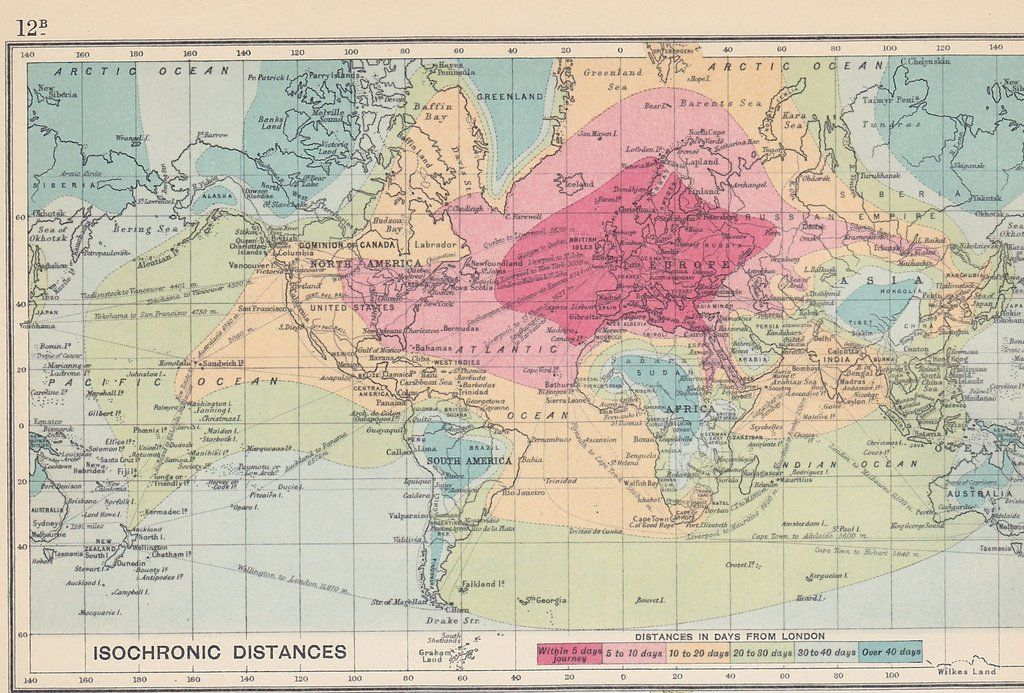 Travel times from london in 1914 2400x1625click here for more maps an rt fantastic isochronic map showing 1914 travel times from london around the world gumiabroncs Gallery