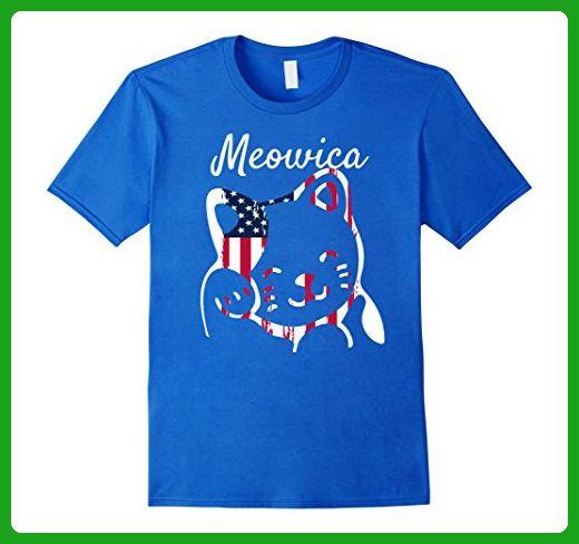 Mens Meowica Cute Cat American Independence T-Shirt Medium Royal Blue - Animal shirts (*Amazon Partner-Link)