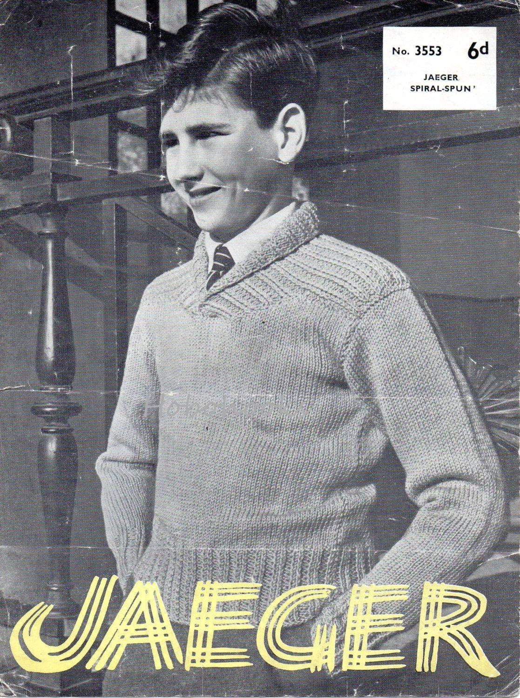 vintage childs childrens shawl collar sweater knitting pattern pdf ...