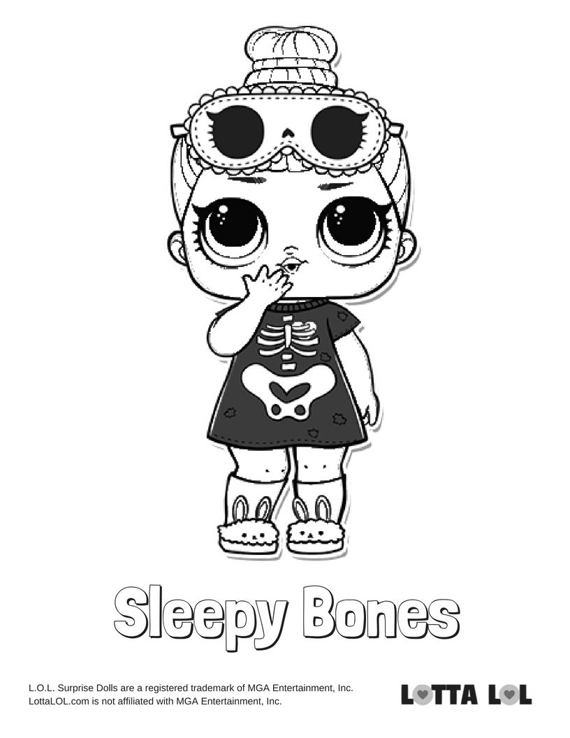 Sleepy Bones Coloring Page Lotta LOL Coloring pages