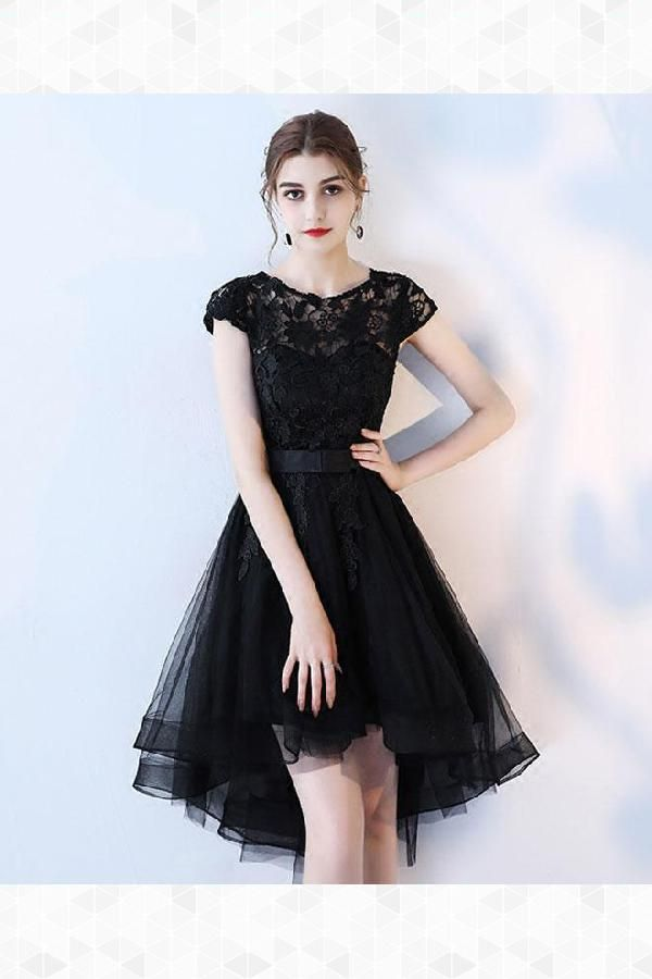 Prom Dress Short Evening Dress Lace Black Lace Evening