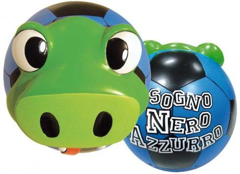 """TIF8 LAMPADA SOGNO NERO/AZZURRI  Lampada in resina a forma di palla con serpentello Forza Neroazzurri in rilievo e scritta """"Sogno nero azzurro"""" sul retro"""