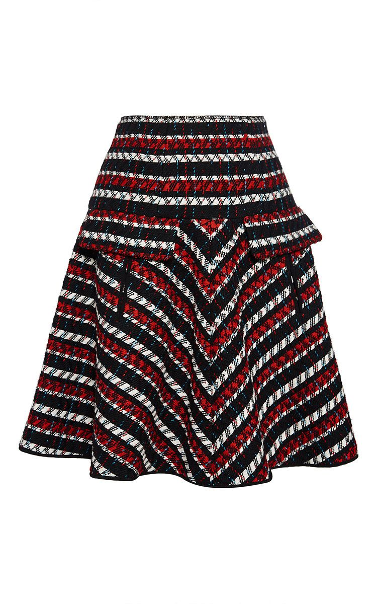 Virgin Wool Cotton Striped Tweed Skirt by Oscar de la Renta Now Available on Moda Operandi