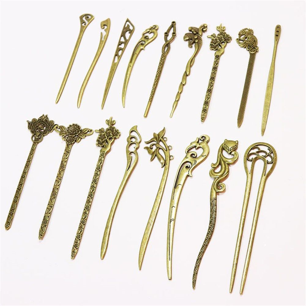 Women Bronze Hair Sticks Alloy Hairpin Traditional Carved Hair Clips Retro