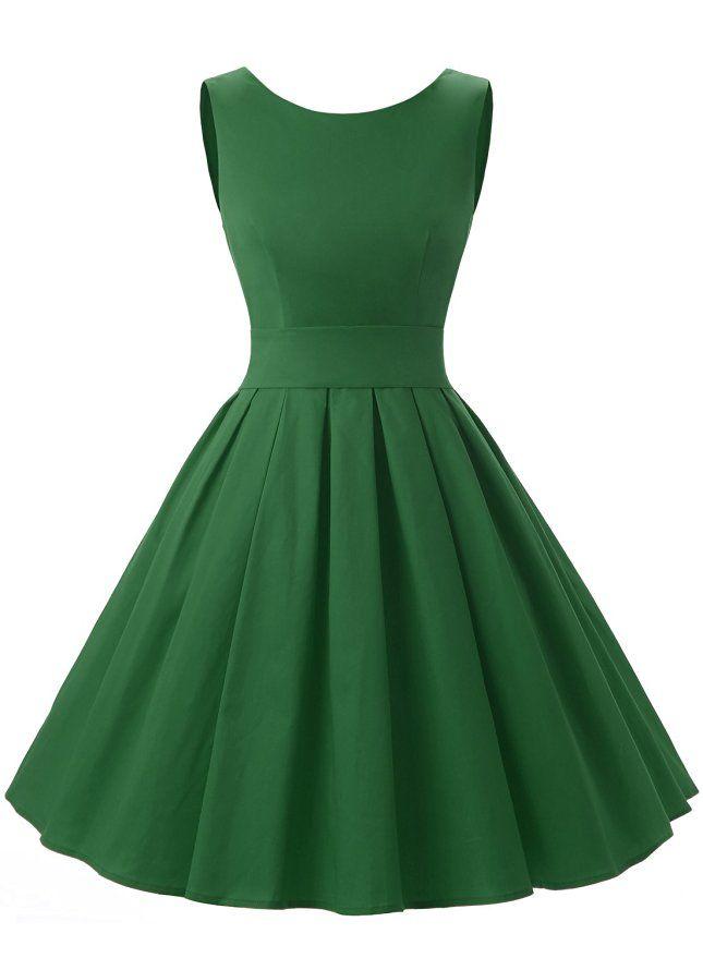 Dressystar Vintage 1950's Audrey Hepburn Style Rockabilly Swing Party Prom Dress X-Small Army Green