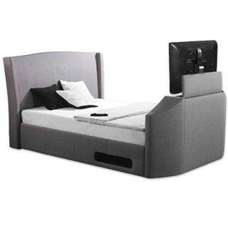 Kensington Grey Electric Tv Bed Double Kingsize Superkingsize