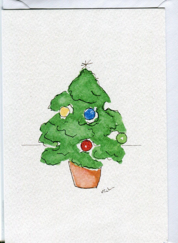 Christmas tree- card handmade from an original watercolour painting ...