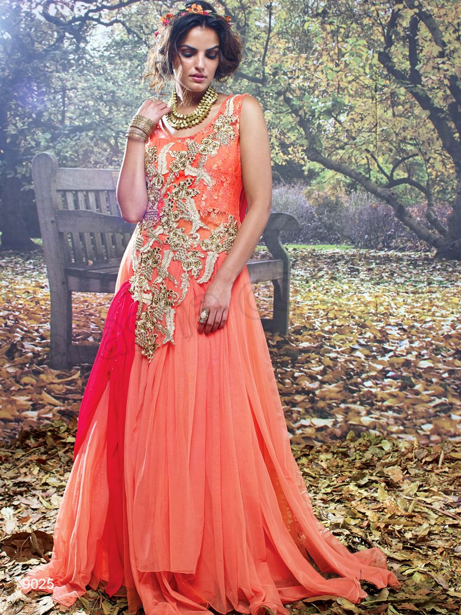 Designer Gowns Orange Indian Wear Desi Fashion Natasha Couture  Indian  Ethnic Wear  Bridal Wear  WeddingWear Online 5b6ddc74f