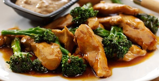 The Body Coachs Garlic And Teriyaki Chicken Served With Tenderstem