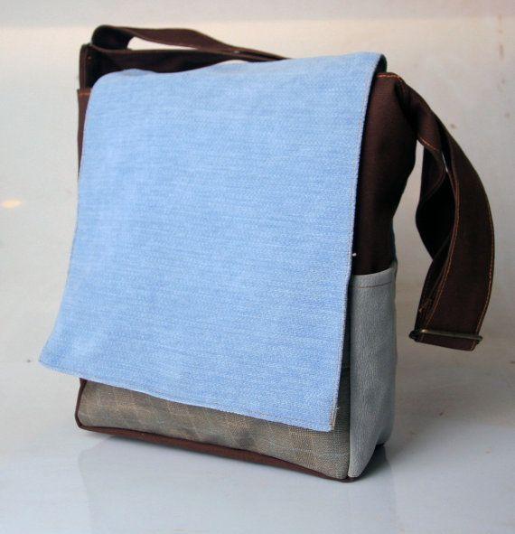 Blue iPad Messenger bag, waterproof messenger bag, waxed canvas bag, custom messenger bag, cute messenger bag, canvas book bag, CollegeMTag2