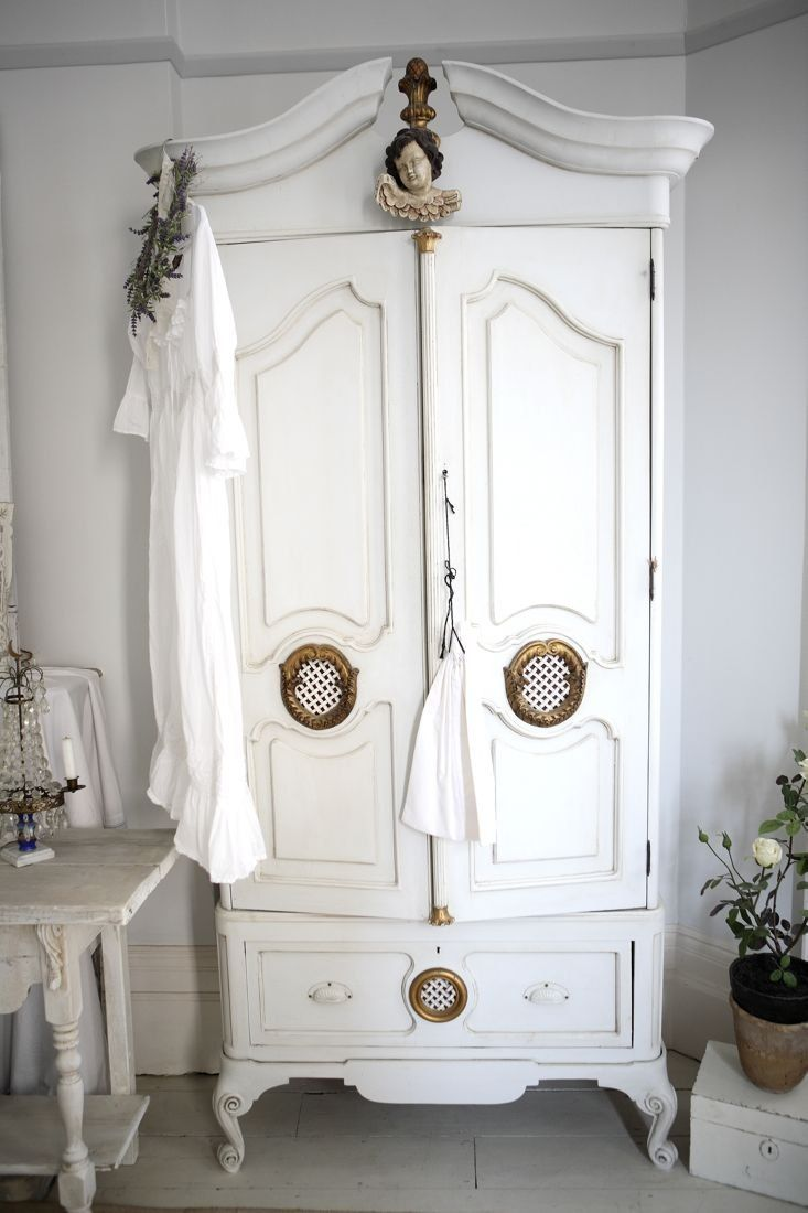 white wood wardrobe armoire shabby chic bedroom. thrift a vintage piece of furniture and paint white ~ armoire wood wardrobe shabby chic bedroom m