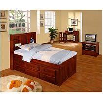 Twin Size Merlot Finish Bookcase Bedroom Set