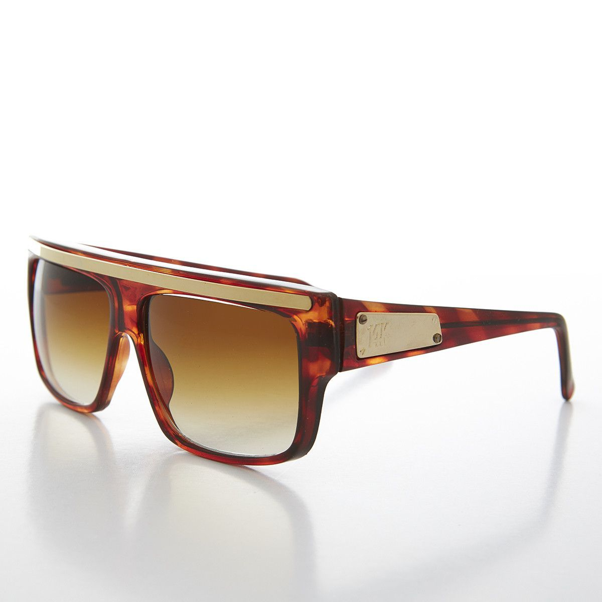 0632e63a675c 90s Hip Hop Flat Top 14k Gold Emblem Vintage Sunglasses NOS - ROYAL