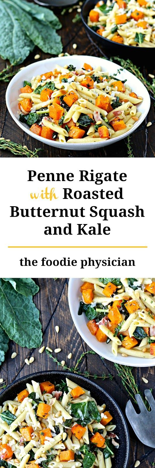 Penne with Roasted Butternut Squash and Kale. This hearty pasta dish featuring colorful fall vegetables is packed with flavor and nutrition! Sponsored by @dreamfields for #HealthyPastaMonth | @foodiephysician