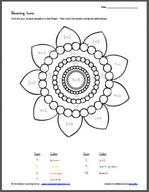 Worksheet Printable Art Worksheets blooming sums color by number addition free printable plus click the language arts math science