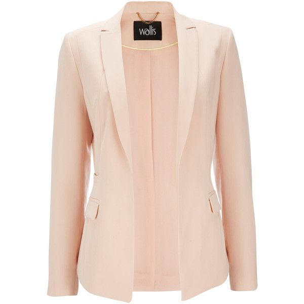 Pale Pink Tailored Jacket (135 BRL) ❤ liked on Polyvore featuring ...