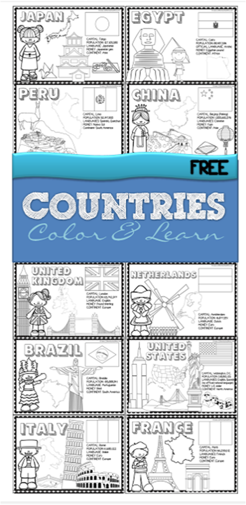 FREE 18 Countries of the World Book | Pinterest | Color sheets, Free ...