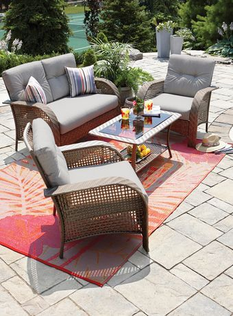 hometrends Tuscany 4 Piece Wicker Conversation Set Walmart  476. hometrends Tuscany 4 Piece Wicker Conversation Set Walmart  476