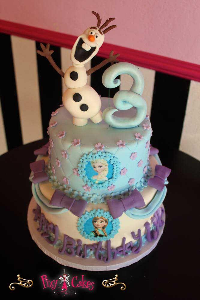 birthday cake girl frozen cake snowman 2 tiers purple blue disney