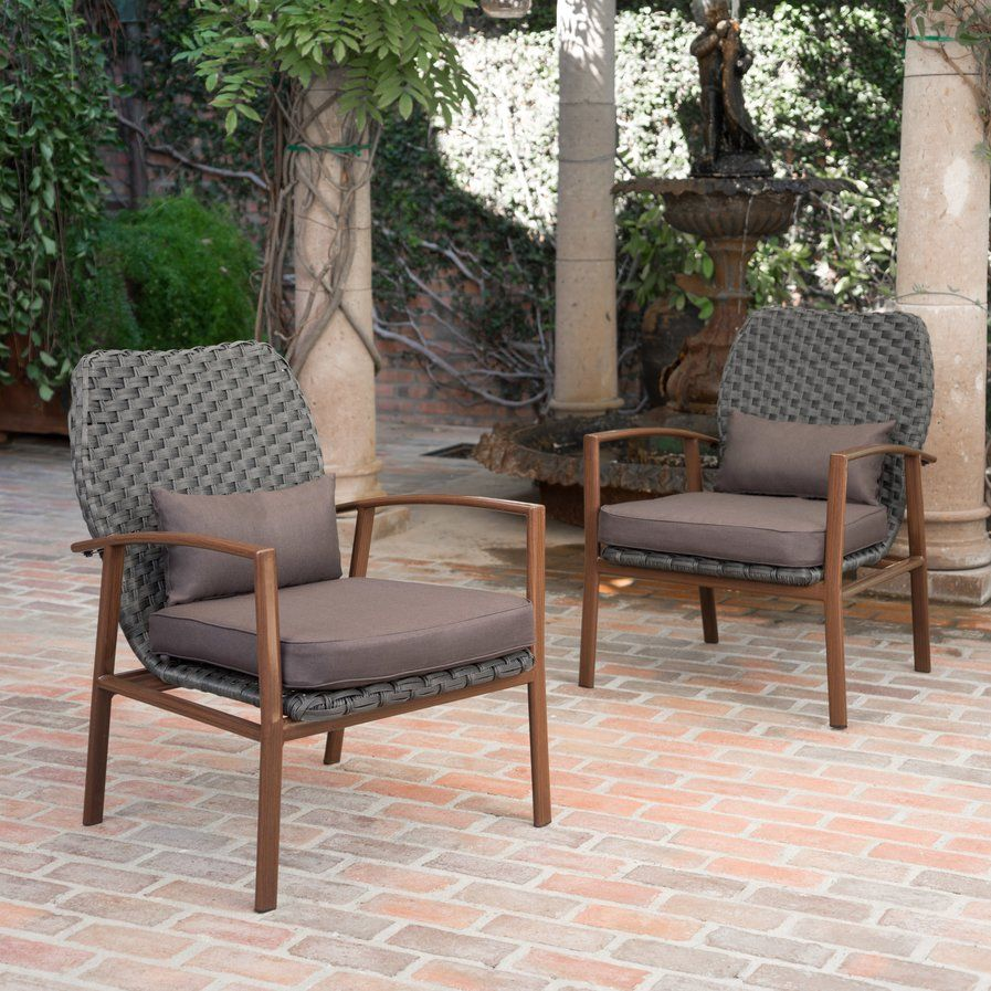Nowell Outdoor Club Armchair With Cushions (Set Of 2