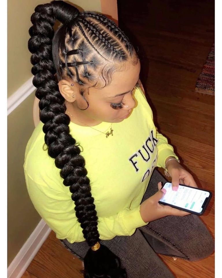 12 Creative Stitch Braids That You Will Want To Rock Hair Ponytail Styles Feed In Braids Hairstyles Braided Ponytail Hairstyles