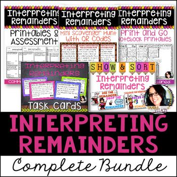 4th Grade Division 4.OA.3 Interpreting Remainders Bundle 5 PRODUCTS IN 1