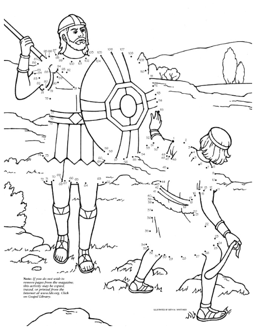 David and Goliath Dot-to-Dot (LDS The Friend Magazine Coloring Page ...