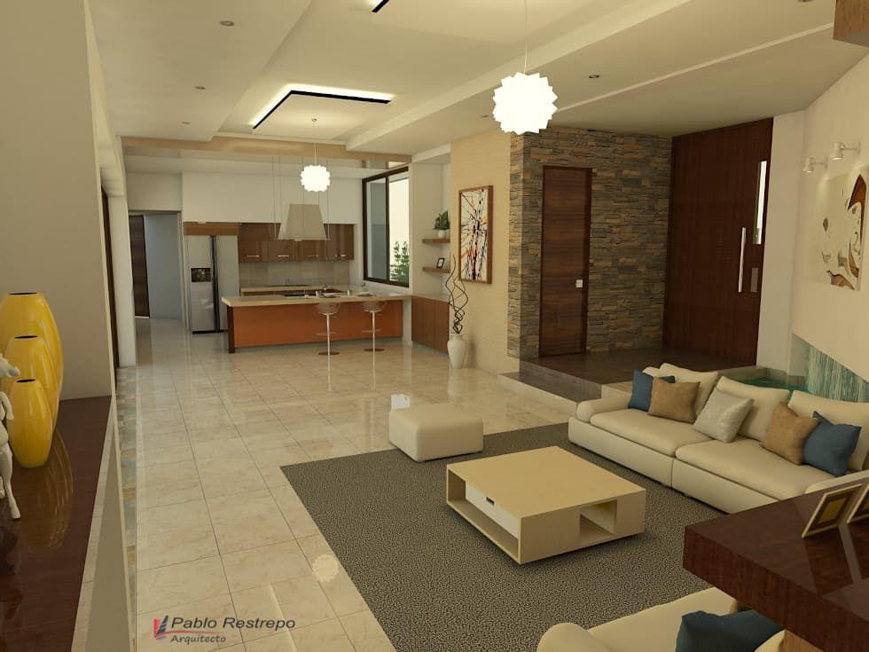 Diseño interior – sala, comedor y cocina: salas de estilo ...