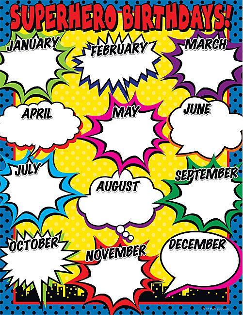 Superhero Birthday Chart Teacher Pinte