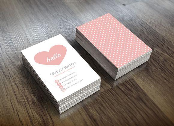 Cute Business Card Heart Polka Dots by LightFactory on Creative