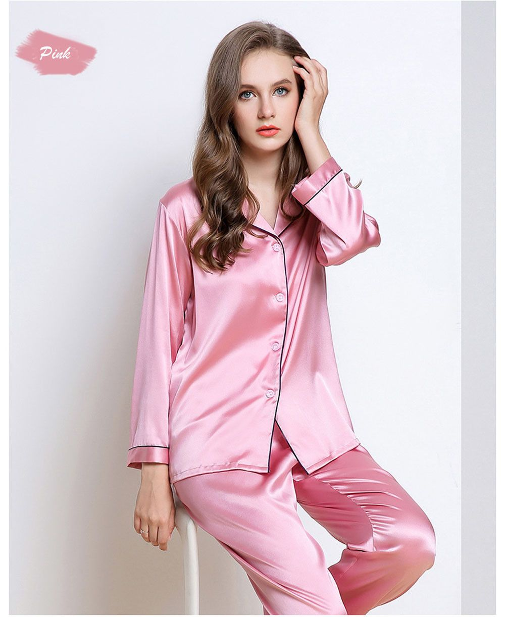 Women s 19MM Mulberry Silk Pajamas Set Long Sleeves Silk Sleepwear Set  c3c01ba84