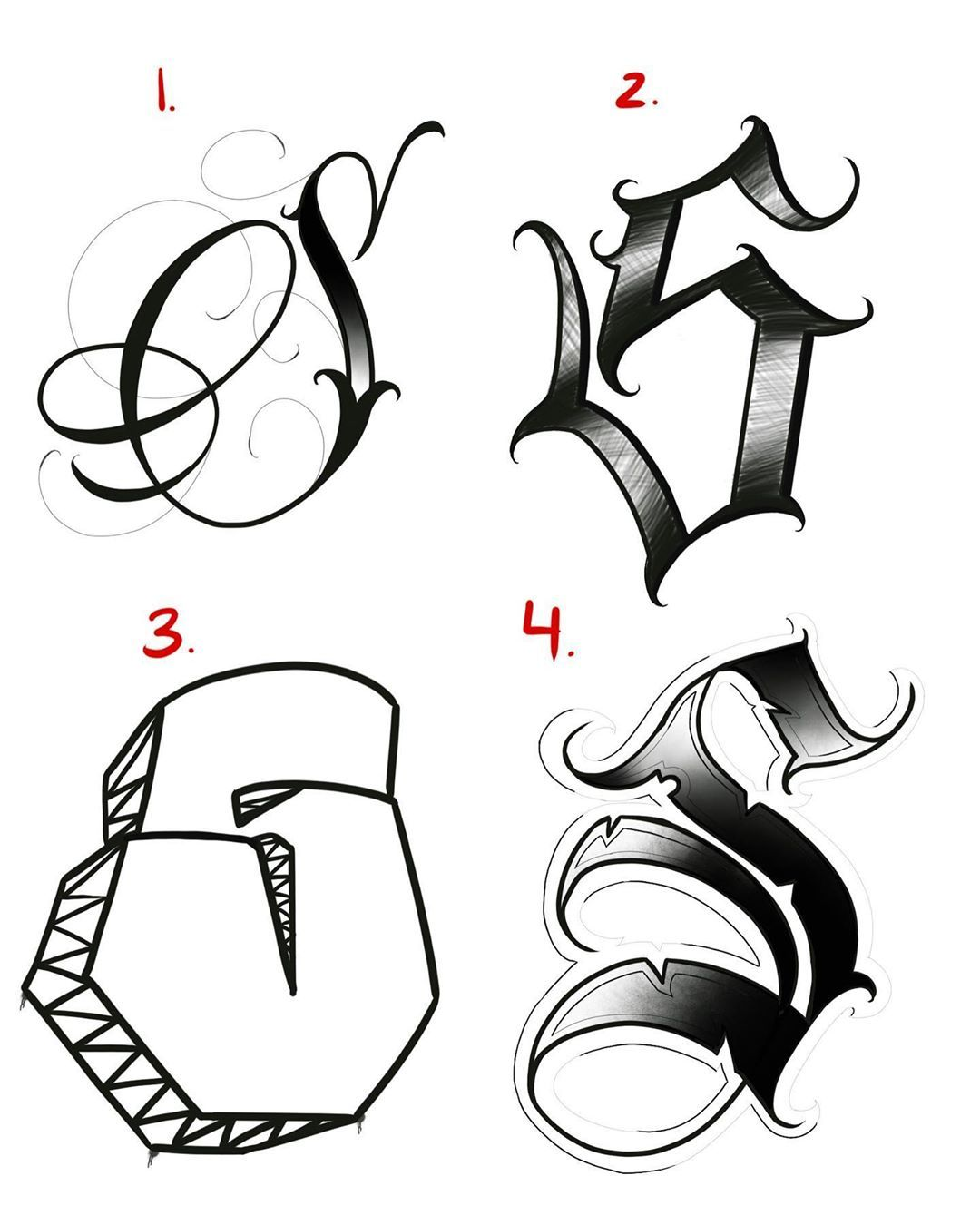 """rivera_1989 """"4 different ways to write the letter """"S"""