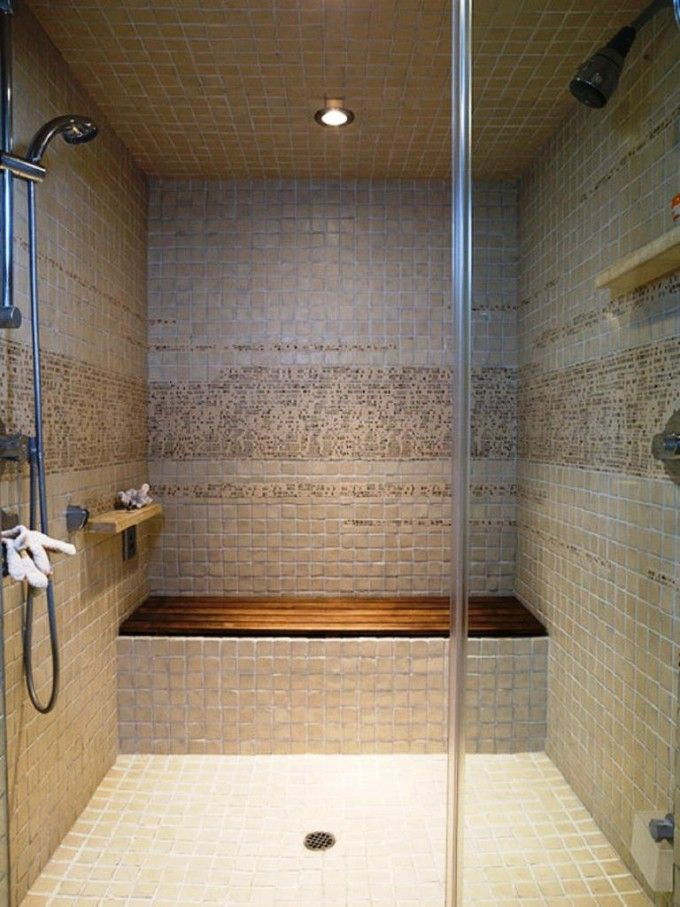 Amazing Teak Shower Bench Before The Mosaic Tile Wall Matched With ...