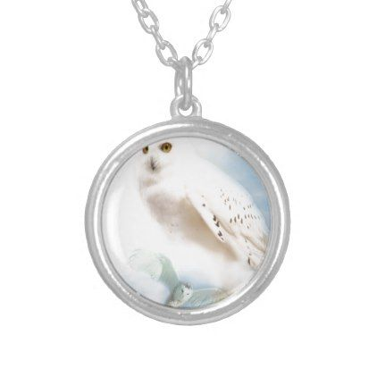 Snowy Owl Silver Plated Necklace - animal gift ideas animals and pets diy customize